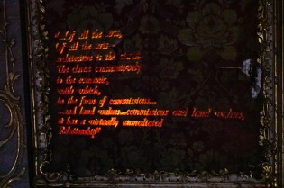 altered quote from F. Jameson projected to the wall with pulsing effect